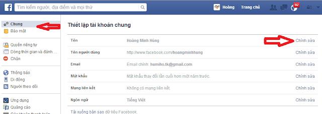 đổi tên facebook 1