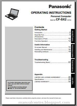 Panasonic Toughbook CF-SX2 Manual Cover