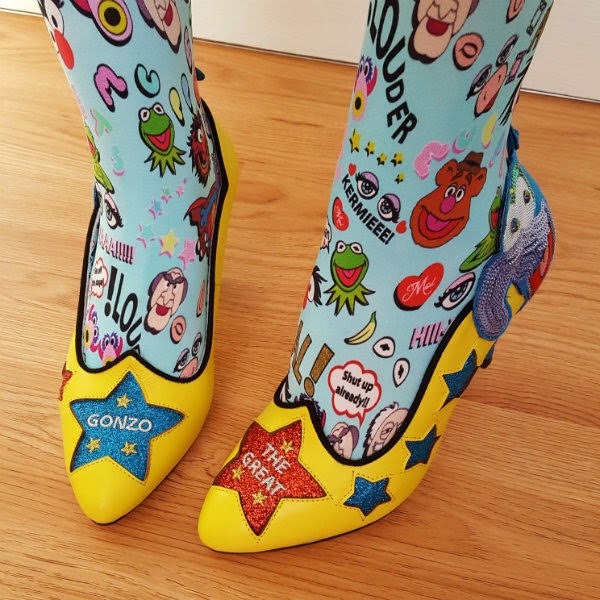 Irregular Choice yellow Gonzo Muppets shoes with glitter stars