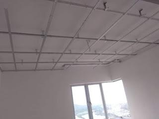 Pemasangan rangka besi siling di ruang bilik tidur 1