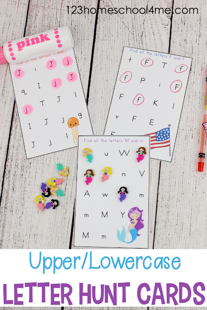FREE Letter Hunt Alphabet Printables - these free printable alphabet letter worksheets make practicing identifying uppercase and lowercase letters fun for preschool, kindergarten, and first grade kids. This is perfect for extra practice, summer learning, home preschool, homeschool, and more