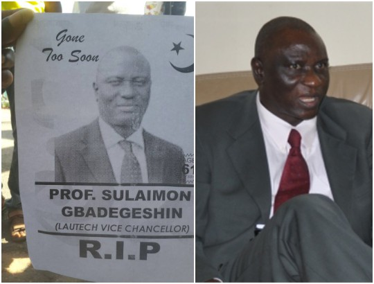 LAUTECH students post obituary of their VC who is still alive (Photo)