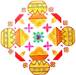 Happy Pongal Rangoli with colors free download
