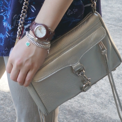 tiffany bracelet stack, Cora JORD wood watch, Rebecca Minkoff metallic silver mini MAC | AwayFromTheBlue