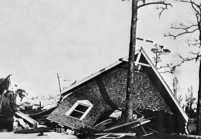 St. Andrew's Church af- ter 1928 Okeechobee Hurricane. Click photo: