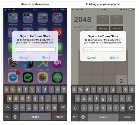 """Felix Krause explains that it suffices to press the Home button if such a window appears, if the app closes and with it the dialogue window, then it was an attempt to steal password. If the dialog window remains displayed, then it is an iOS system alert.      To avoid any danger, it is also possible to close the dialogue window by pressing """"cancel"""" and go to the settings of iOS to enter his password.  Felix Krause warned Apple and suggested several fixes, such as adding a visual element to indicate whether or not it is an iOS system alert.  Source"""