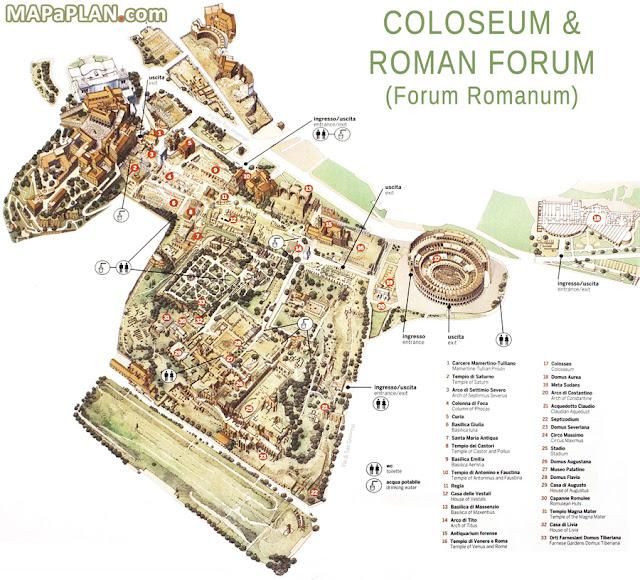 Mapa do Coliseu, Roma, Lazio, Itália