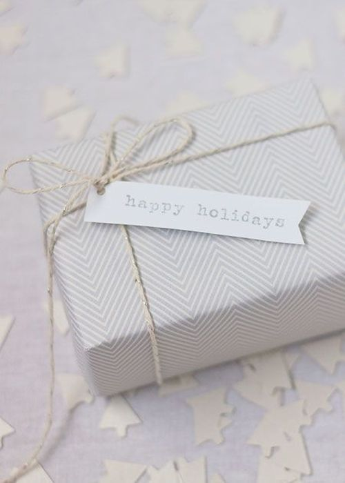 effortless white Christmas gift wrapping