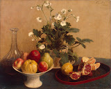 Still Life: Flowers, Dish with Fruit and Carafe by Henri Fantin-Latour - Fruits Paintings from Hermitage Museum