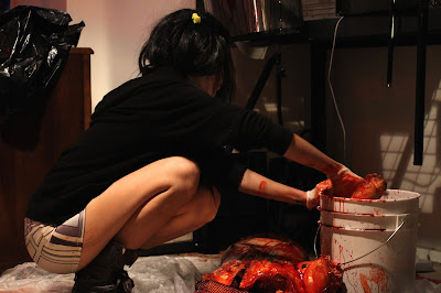 FX artist Laney Chantal preps FX body parts on set of Blood Bath from Deathaus Films