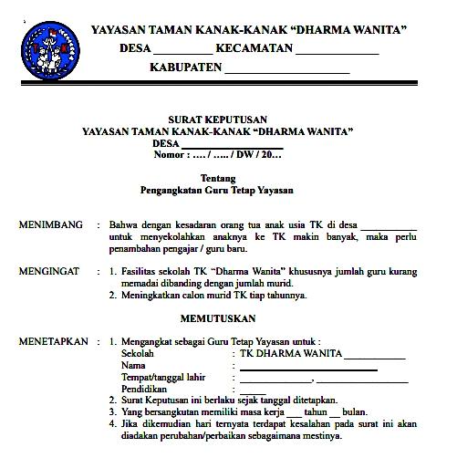 Surat Keputusan Yayasan Taman Kanak-Kanak (TK) Dharma Wanita (DW)