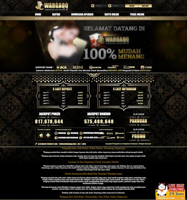 WargaQQ - Situs Judi Online Poker, DominoQQ Terbaik Terpercaya