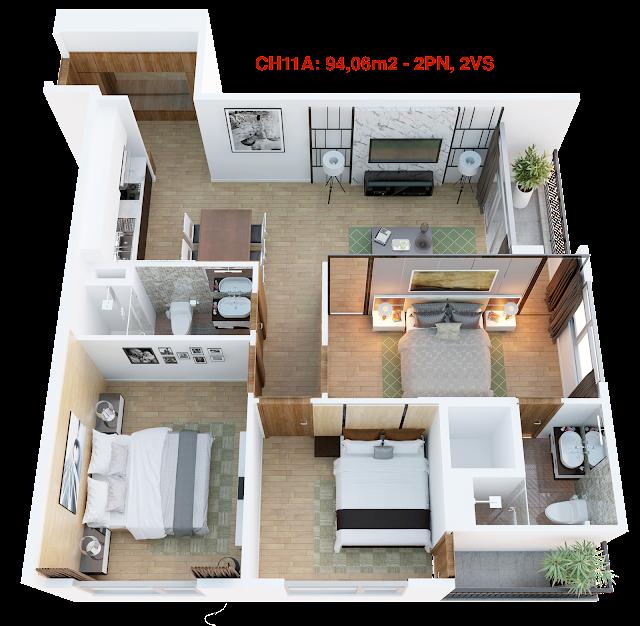 Thiết kế căn hộ 11A tháp doanh nhân