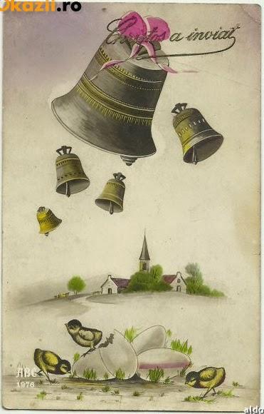 ilustrata perioada interbelica Paste - clopote biserica pui Christos a inviat 1931