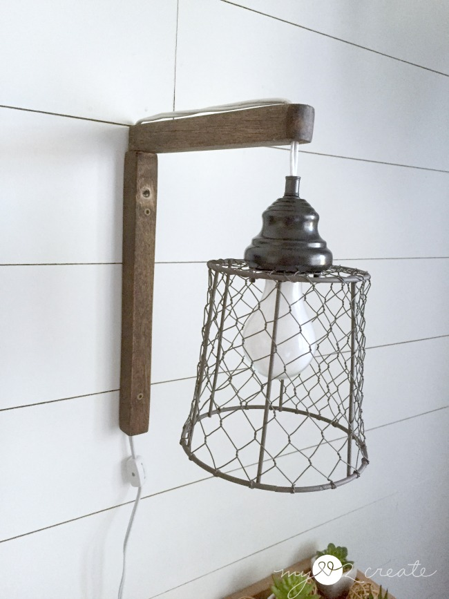 DIY Plug-in Sconces, from pendant lights, tutorial at MyLove2Create