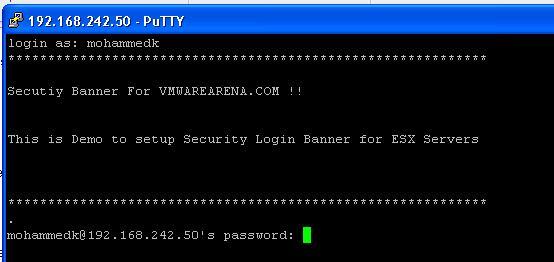 Enable SSH Security Banner for ESX Server