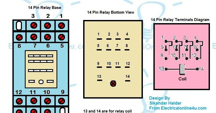 14 Pin Relay Base Wiring Diagram - Finder 14 Pin Relay diagram - Electrical Online 4u  sc 1 st  Electrical Online 4u : 8 pin relay wiring diagram - yogabreezes.com