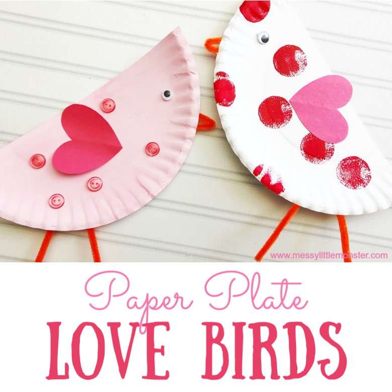 Paper Plate Love Birds Valentine's Day Craft