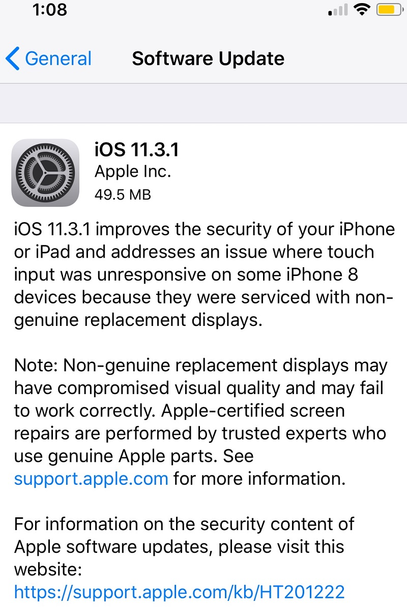 iOS 11.3.1 Features Changelog