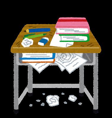 学校の机のイラスト「汚い机」