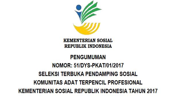 Lowongan Kerja Tenaga Pendamping Kementerian Sosial