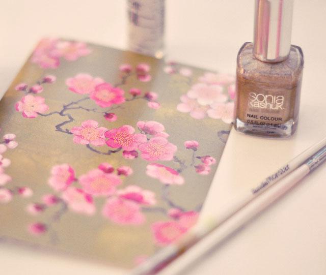 DIY Pink and Gold Cherry Blossom Nails + Nail Art Tutorial