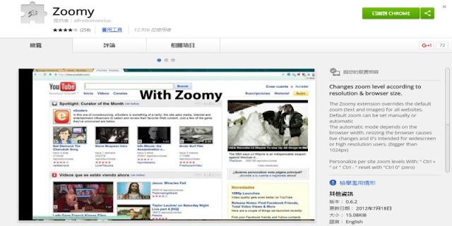 讓每個網頁都能自動調整寬度,省下手動縮放的麻煩﹍Chrome 套件 Zoomy