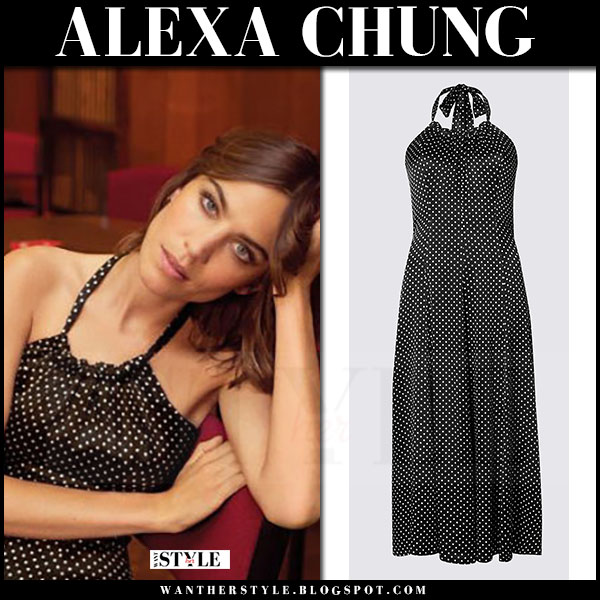 Alexa Chung in black polka dot print maxi dress archive by alexa what she wore