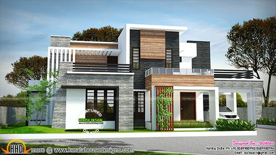 2729 sq-ft 4 bedroom flat roof modern house