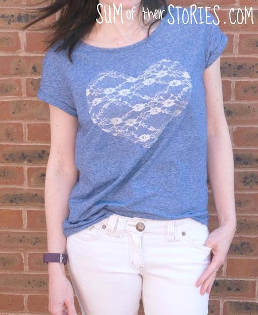 Lace Heart T shirt refashion