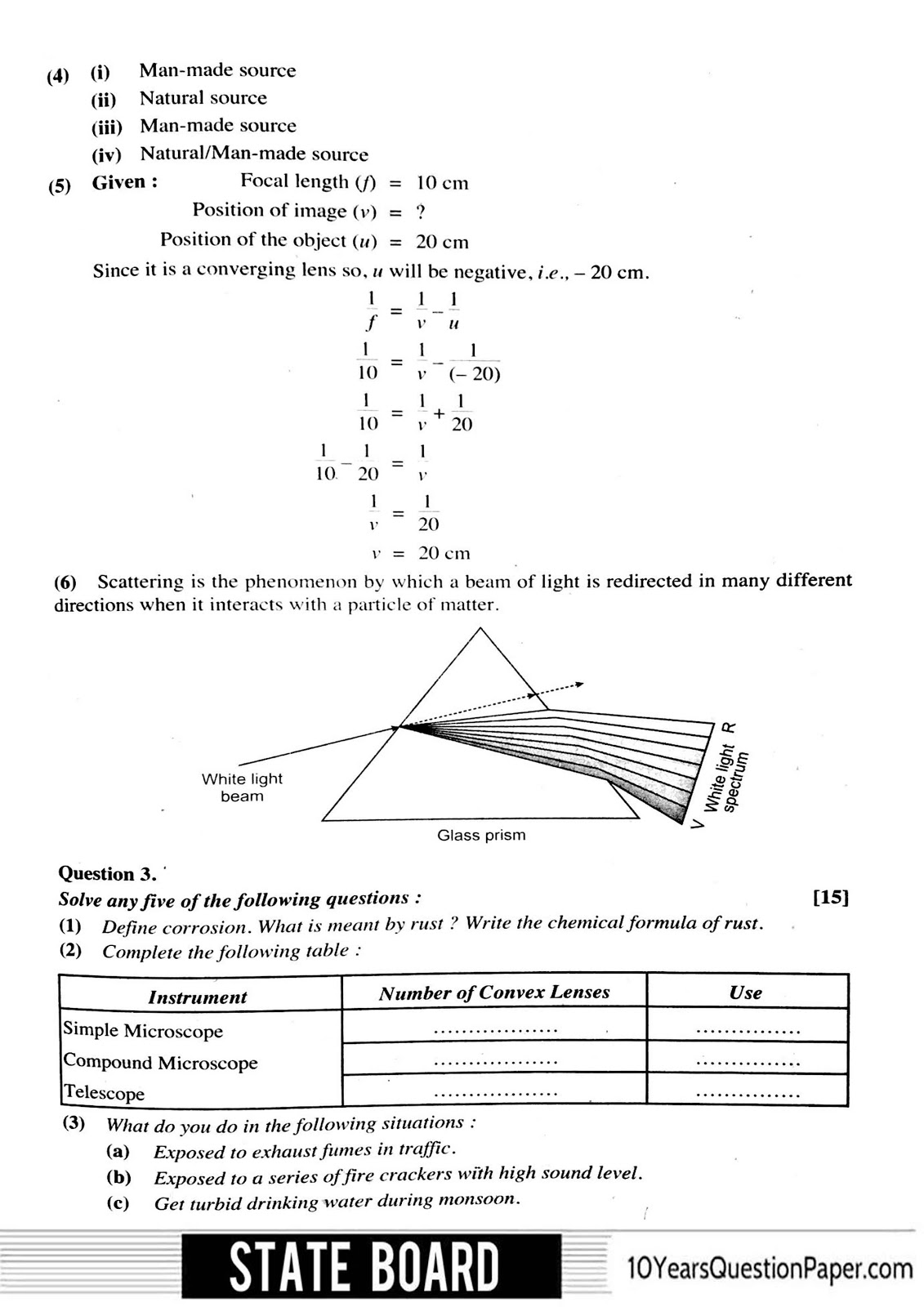 SSC board class 10th 2017 Science & Technology Solved question paper