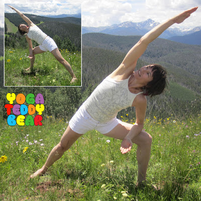 yogateddybear, Yoga Teddy Bear, Utthita Parsvakonasana, yoga pose, Utthita (extended) Parsva (side) Konasana (angle pose), warrior style pose, yoga kids