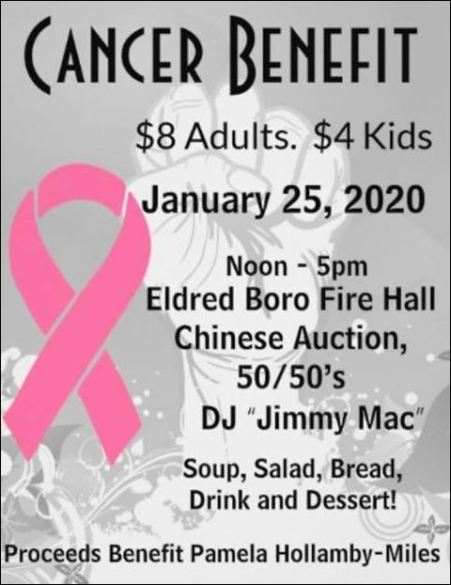 1-25 Cancer Benefit, Eldred Boro Fire Hall