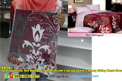 Sprei Impression Red Mahogani Queen 160×200 2 Sarung Bantal 2 Sarung Guling Merah Ornamen Batik Dewasa Katun