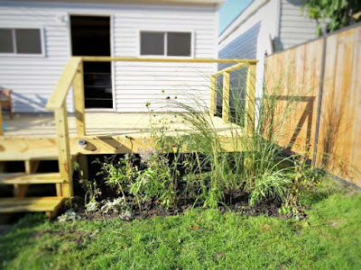 new garden plantings deck garage backyard landscaping