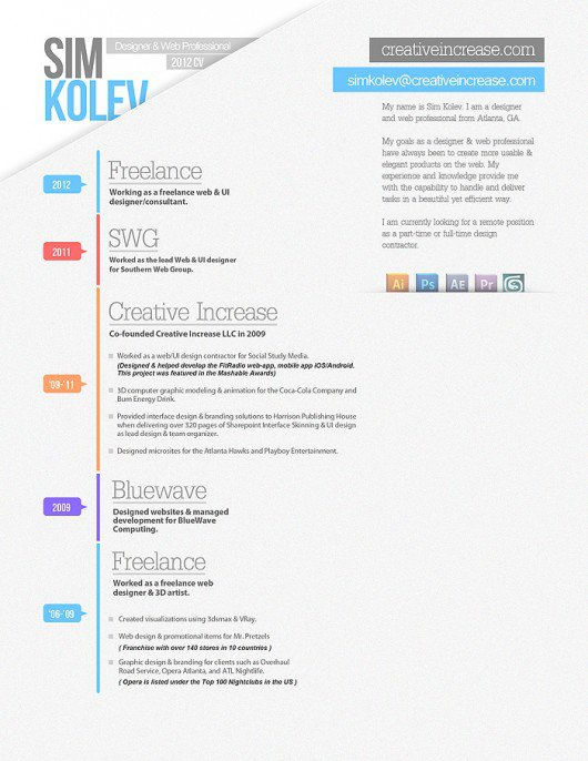 Resume Template Design Ideas  Free  Dadakan