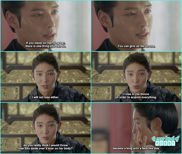 in reply wang so told wook about he had a scar on his face and yet he become the king  - Scarlet Heart Ryeo - Episode 17 - 18 (Eng Sub)