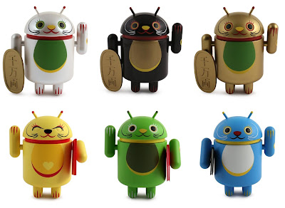 Lucky Cat Android Mini Figure Series by Shane Jessup - White, Black, Gold, Yellow, Green & Blue Lucky Cat Vinyl Figures