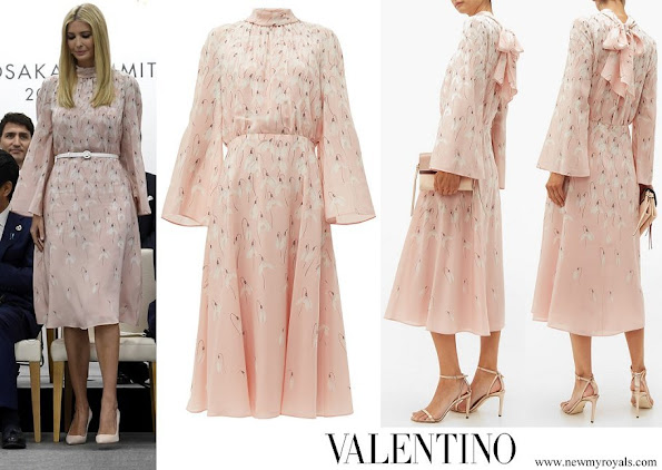 Ivanka Trump wore Valentino Snowdrop print silk midi dress