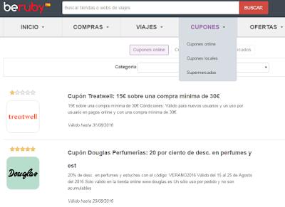 Cupones disponibles en Beruby que podrás descargarte en la misma web
