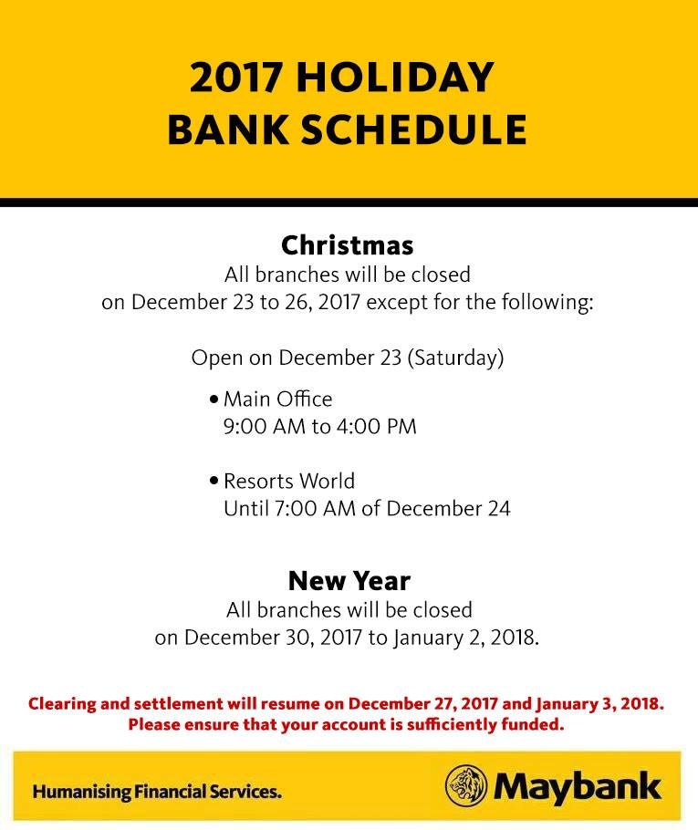 Maybank Christmas schedule 2017