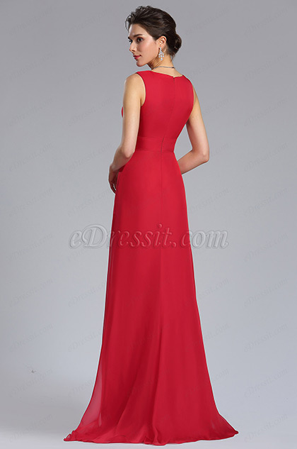 Back of Red Sexy A-Line Bridesmaid Dress Evening Gown