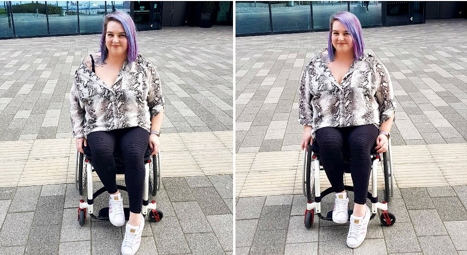 In both images I am sat in my wheelchair in front of a glass building. I am wearing a snake print shirt, black leggings and white trainers. In the left picture my shirt is off my shoulder showing my rose tattoo.