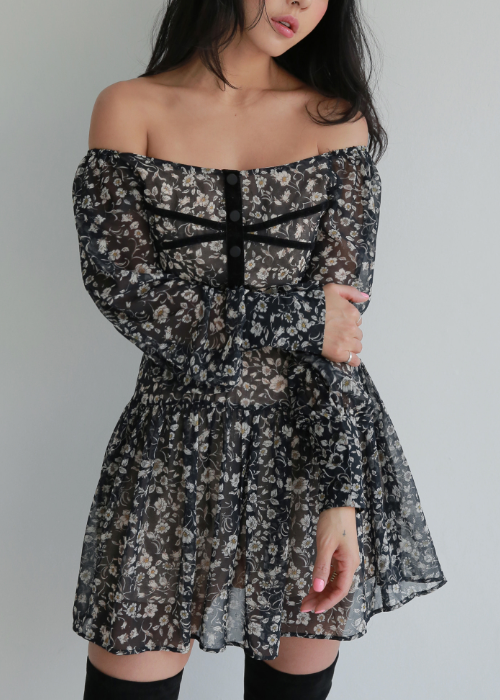 Black Floral Off-Shoulder Dress