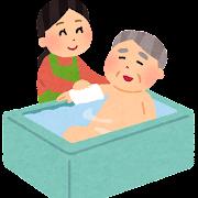 お風呂で入浴介護をする女性のイラスト