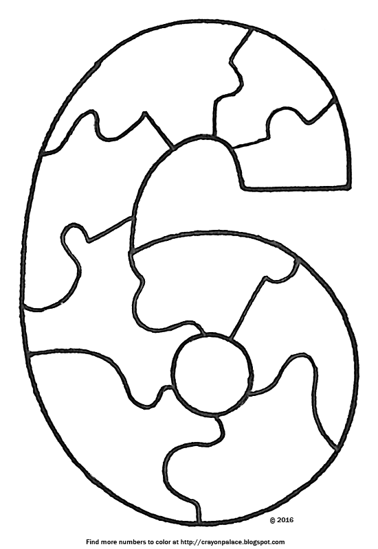 description of coloring page number six puzzle pieces when put together make a number