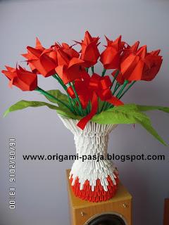 Origai modułowe, papier, tulipany, wazon, kwiaty