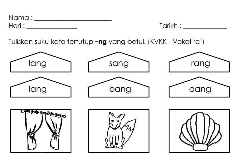 Latihan Menulis Suku Kata Tertutup Ng Untuk Prasekolah Dan Linus Mobile