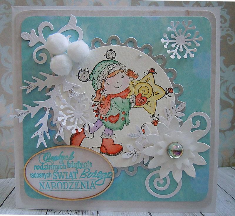 Kartka z kolorowym stempelkiem na Boże Narodzenie