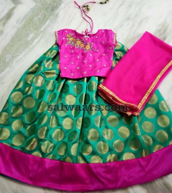 Sea Green Pink Silk Lehenga
